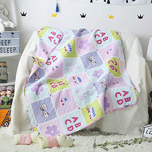 ABREEZE Coverlet Quilt Bedspread Throw Blanket for Kid's Girl & Boys Baby Bed Gift 100% Natural Cotton 43' X 51', ABC Desgin