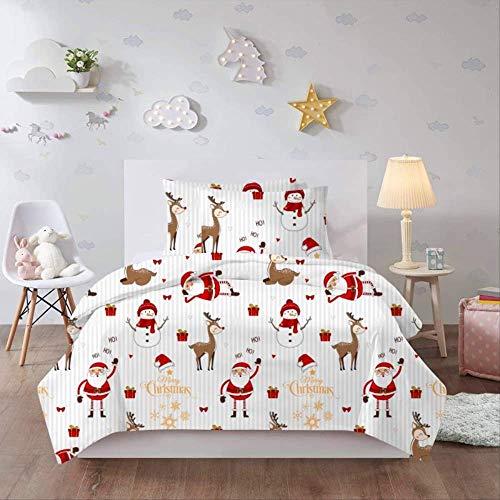 JOEYFAYE Christmas Santa Duvet Cover 230 * 260Cm, Microfiber Bed Ding Set With Pillowcase 50 * 75Cm, Zipper Closure. Christmas 6