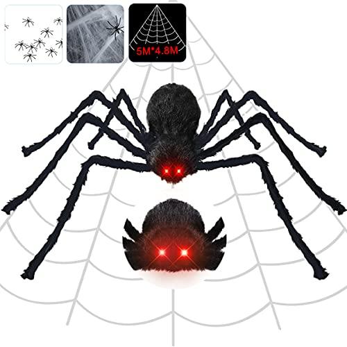 Halloween Spinnennetz Deko inkl. 125cm großer Spinne mit leuchtenden Augen, gruseligen Geräuschen + dreickiges Spinnentze 5m +10 mini Spinnen + Spinngewebe, Horror Halloween Dekoration Garten draußen