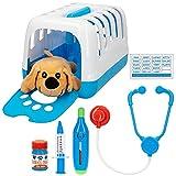 Colorbaby Maletín veterinarios juguete, Set veterinario juguete, Perro de peluche, con accesorios, Cuidado de mascotas, Centro veterinario, + 3 años, COLORBABY (46647), Multicolor