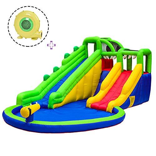 ZYFWBDZ Inflable Castillo Hinchable, Centro de Actividad Jumper Casa Piscina de Agua de Diapositivas con tobogán de Agua, Pared, Área de la Piscina de Escalada para niños