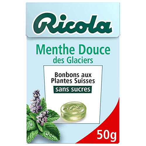 Ricola - Bonbons aux Plantes Suisses - Parfum Menthe des Glaciers - Doux et Rafraîchissant - Sans Sucres - Boîte de 50g