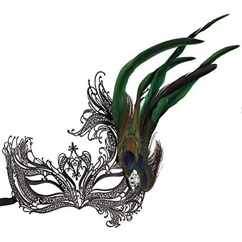 Thmyo Masque de Mascarade de Plumes de Paon de Fausse Pierre, Masque de Bal vénitien en métal découpé au Laser (Style 1)