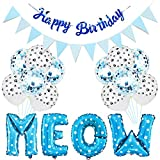Esweny Pet Birthday Party Supplies Set Meow Letter...