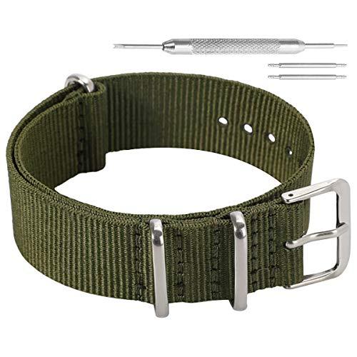 Ocio Estilo Militar Verde de la Nylon balístico Reloj de reemplazo de la Correa de Banda de 20 mm ejército para los Hombres