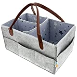 Baby Diaper Caddy Organizer - Nursery Tote Storage Bin for Boy or Girl - Larger Portable Art and Car Organizer Caddies - Baby Shower Basket  and Baby Registry Must Have
