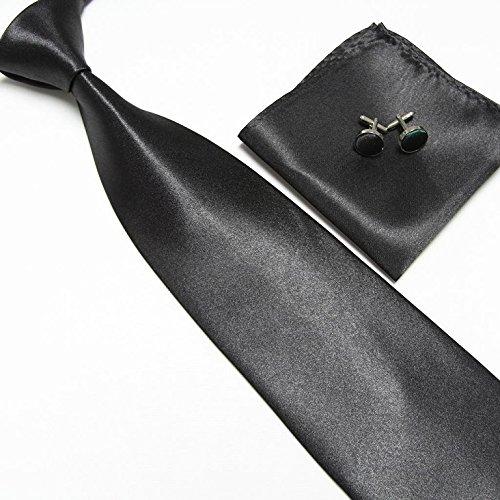Cravate + Pochette + Bouton de Manchettes Satinée - Noir - Neuf