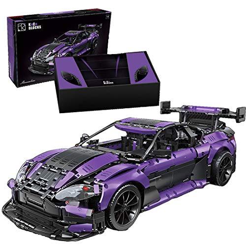 xSuper 1:8 911 GTR Technics Supercar Car con alerón elevador, 3850 piezas DIY Racing Supersport Car Building Blocks Juguetes compatibles con Lego Technical-Magic Negro Púrpura
