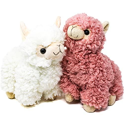 Selldorado® 2X Lama / Alpaka Kuscheltier aus weichem, kuschligen Plüsch in Weiß und Rosa - großes Kuscheltier 22cm für Baby´s und Kinder