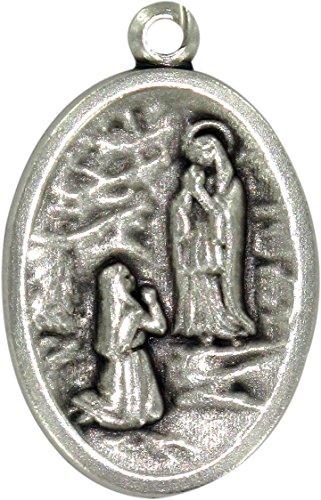 Ferrari & Arrighetti Medalla Virgen de Lourdes de metal oxidado - 2,5 x 1,5 cm (paquete de 10 piezas)