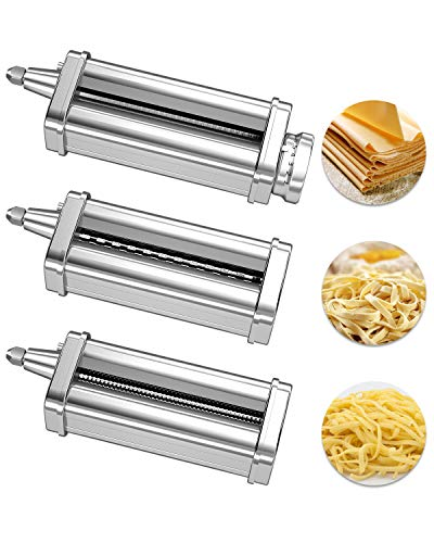 Pasta Maker Attachment for KitchenAid Stand Mixer, Includes Pasta Roller, Cutter for Spaghetti & Fettuccine, SUS304 Stainless Steel, Set of 3