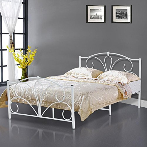 39f6a67ecf32 Popamazing Double 4ft6 White Metal Bed Frame Bed/Mattress Foundation Base