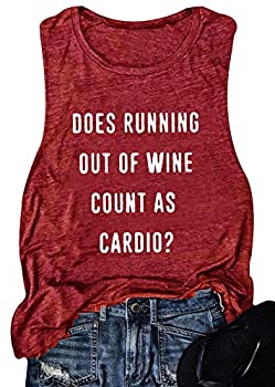 Women Sleeveless Does Running Out of Wine Racerback Tank Top  Red XL