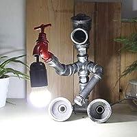 ヴィンテージクリエイティブメタル小さな人間の水パイプデスクライトE27ヨーロッパのレトロな産業錬鉄製ベッドサイドテーブルライト研究寝室バー装飾デスクトップランプ