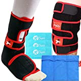 Toughito 2-in-1 Knee Ice Pack Wrap & Ankle Ice Pack Wrap Bundle - Hot & Cold Foot Therapy with Signature Hook & Loop Ice Pack Brace for Knee & Ankle - Pain Relief, Injury Recovery, Sprains & Swelling