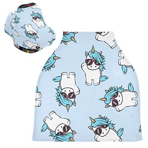 Sinestour Fundas para asiento de coche de bebé con diseño de unicornio, diseño de dibujos animados de unicornio, cubierta para silla alta, toldo multiusos para asiento de coche, para niño y niña