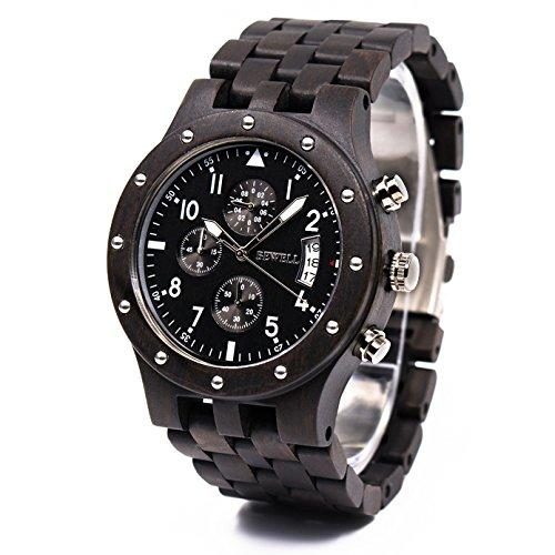 BEWELL Reloj de Movimiento de Cuarzo japonés con Pantalla analógica para Hombres con Pulsera de sándalo y Funciones múltiples de Calendario y punteros Luminosos W109D