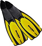 Deep Blue Gear Latitude 2 Fins for Diving, Snorkeling, and Swim, Adult Size 5-6 (Men's 6-7.5, Women's 7-8.5), Yellow