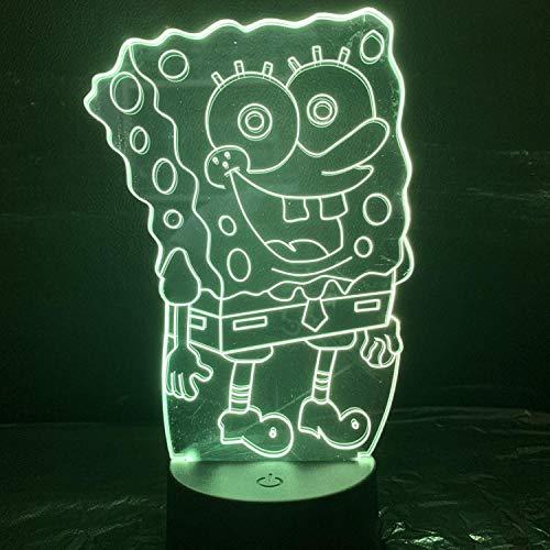 SpongeBob 3DUSB Vision Nachtlicht LED Touch Symphony Valentinstag-Konventionell_01 schwarz 16 farbfernbedienung