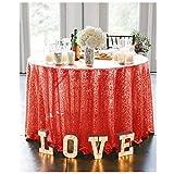 Mantel redondo de 180 cm, mantel de lentejuelas, color rojo, para fiestas, decoración de bodas, faldas de mesa para mesas circulares, manteles de lentejuelas redondos, 180 cm