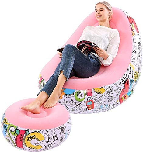 RITONS Inflatable Lounge Chair with Ottoman Blow Up Chaise Lounge Air Lazy Sofa Set Flocked Couch Portable Inflatable Seats for Lounge Inflatable Deck Chair for Indoor & Outdoor (Macaron Pink)