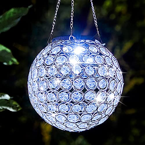 Solar Lantern Hanging Outdoor Decorative, Dual LEDs Dia 7.5'' Color Changing and Cool White Crystal Globe Lamp Hanging Lights Waterproof with S Hooks Decor in Garden, Yard, Pathway, Front Door-White