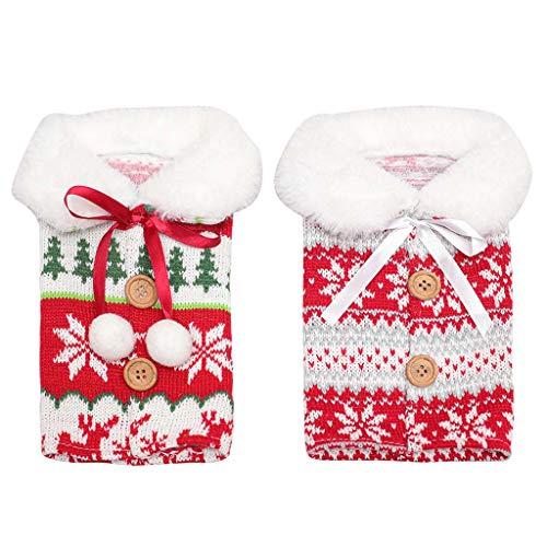 Juego de 2 fundas para botellas de vino tinto de champán, color rojo y champán, diseño de copo de nieve, ideal para decoración de botellas de vino para cumpleaños, Navidad y fiesta de vacaciones