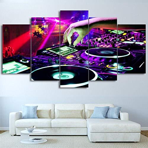 WWMJBH Muurkunst Canvas Woonkamer Afbeeldingen Modular Poster Home 5 Panel Bar Dj muziek Hd Gedrukte modern schilderij Decoratievlies Canvas foto 5 Modern 200x100cm