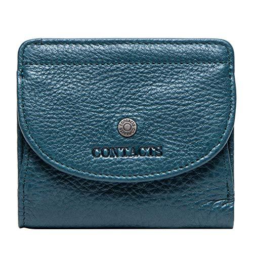 GHYDDC Portemonnee Voor Vrouwen Klein Compact, Bifold Echt Lederen Pocket Portemonnee Dames Mini Portemonnee Blauw