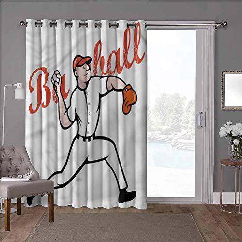 YUAZHOQI Panel de cortina de aislamiento térmico de alta calidad, habitación de niños, jugador de béisbol, 100 x 108 pulgadas de ancho persianas verticales para puerta de honda (1 panel)
