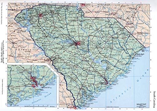 Large map of The State of South Carolina with Cities, Roads and Highways Vivid Imagery Laminated Poster Print-20 Inch by 30 Inch Laminated Poster With Bright Colors