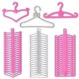 60 piezas Perchas de Muñeca Accesorios para Muñeca de 11.5 pulgadas - Moda Barbi Muñecas Accesorios 3 Estilo Rosa Plata Plástico..