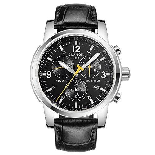 Guanqin Herren Uhr Analog Automatik mit Leder Armband GQ50009 Silber Schwarz
