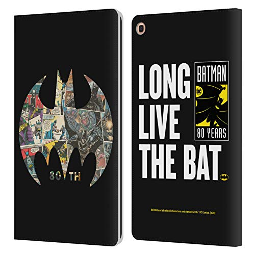 Head Case Designs Officially Licensed Batman DC Comics Bat Signal Collage 80th Anniversary Leather Book Wallet Case Cover Compatible with Samsung Galaxy Tab A 10.1 2019