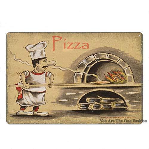 Aya611 Cucina Pizza Zone Poster in Metallo Targa in Metallo Mangia Qui Adesivo da Parete Vintage Poster in Metallo Decor Diner Piatti Targa di Ferro Home Bar Cafe 20x30cm 6
