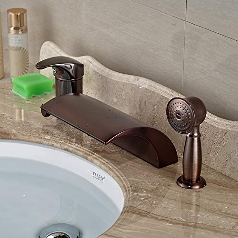 Neue 3 STüCKE Deck Montiert Badewanne Wasserfall Auslauf Mischbatterie ORB Messing Handbrause Wasserhahn Set, Braun