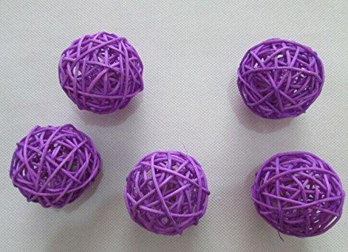 USFEEL 10pcs Handmade Wicker Rattan Balls, Garden, Wedding, Party Decorative Crafts, Vase Fillers, Rabbits, Parrot, Bird Toys (5CM, 3# Light Purple)