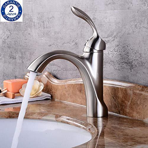 BOAOTX Waschtischarmatur Gebürsteter Nickel Landhaus Bad Wasserhahn Einhebel Mischbatterie Badarmatur Waschbeckenarmatur fur Badezimmer aus Messing