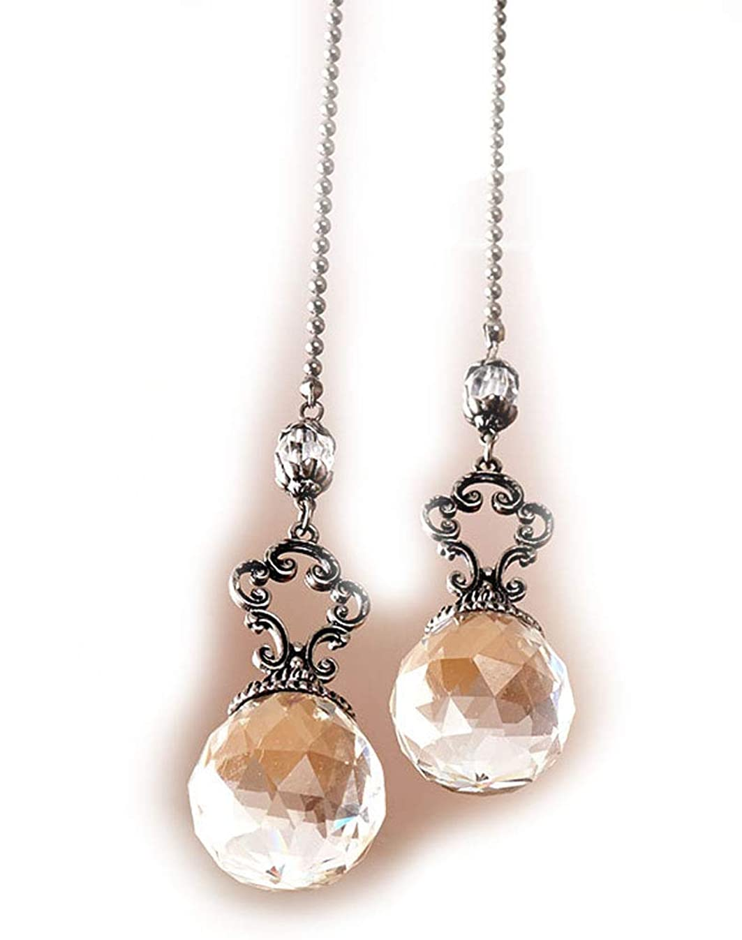 Set of 2 Vintage-Style Jeweled Ceiling Fan Chain Pulls CLEAR Elegant