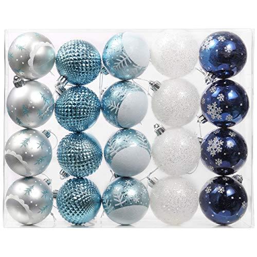 Valery Madelyn Palle di Natale 20 Pezzi 6cm Palline di Natale, Auguri Invernali Argento e Blu Infrangibili Ornamenti Palla di Natale Decorazione per la Decorazione Dell'Albero di Natale