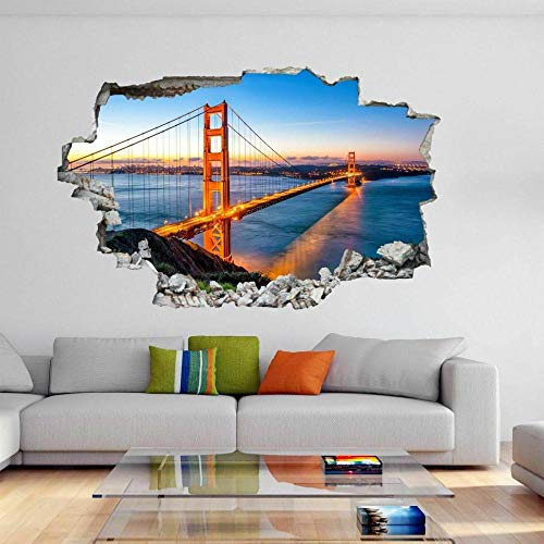 3D Crack Wall Stickers Golden Gate Bridge San Francisco Wall Decor for Boys Kids Bedroom Living Room 20x27inch(50x70cm)