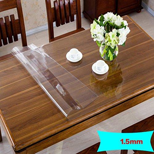 Nappe pvc verre souple étanche anti-huile table basse rembourré cristal transparent tapis de table, 1.5mm, 70 * 120cm