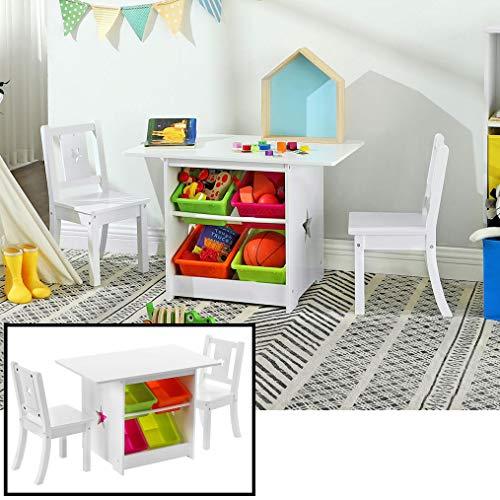 Decopatent Kindertisch mit 2 Stühlen - 1 Tisch und 2 Stühle aus Holz für Kinder - Mit viel Stauraum - Spieltisch/Basteltisch/Zeichentisch/Sitzgruppen-Set