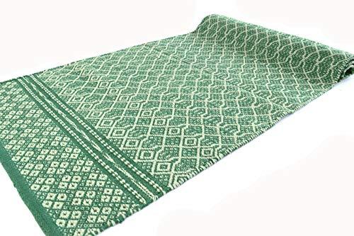 Sky - Alfombra de algodón lavable para baño o cocina, antideslizante, lavable, bordada, color verde, 60 x 280 cm