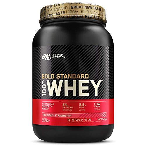 Optimum Nutrition ON Gold Standard 100% Whey Proteína en Polvo Suplementos Deportivos, Glutamina y Aminoacidos, BCAA, Fresa Deliciosa, 30 Porciones, 900 g, Embalaje Puede Variar