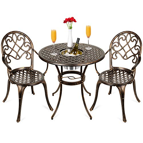 Best Choice Products Cast Aluminum Outdoor Patio Bistro Table Set for Backyard, Garden, Porch, Deck w/Attached Ice Bucket, 2 Chairs - Copper