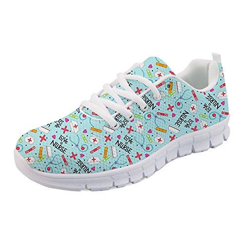 Coloranimal Fashion Nurse Printed Schuhe für Frauen Air Mesh Lace Up Flache Turnschuhe , Nurse Pattern-8, 40 EU