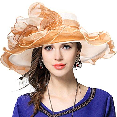 VECRY Damen Kirche Derby Kleid Fascinator Braut Mütze Britischer Tee Party Hochzeit Sonnenhüte (42b-Aprikose)