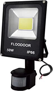 FLOODOOR 50W Motion Sensor Flood Light, 12-24V AC/DC Led Safety Outdoor Light, 6000K, Daylight White, 4500LM, 250W Equivalent, IP65 Waterproof Outdoor for Staircase Courtyard Garage(No Plug)