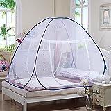LIZHOUMIL Mosquitera para cama, baldaquino, red plegable para una persona individual, red automática contra insectos, color azul, 1,8 x 2,0 m